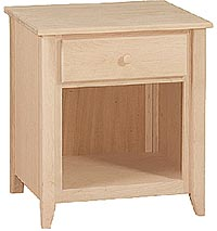 Shaker 1 Drawer Nightstand Unfinished Furniture Outlet Sanford Nc
