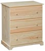 Hillside Narrow 3 Drawer Chest - Deep Drawers